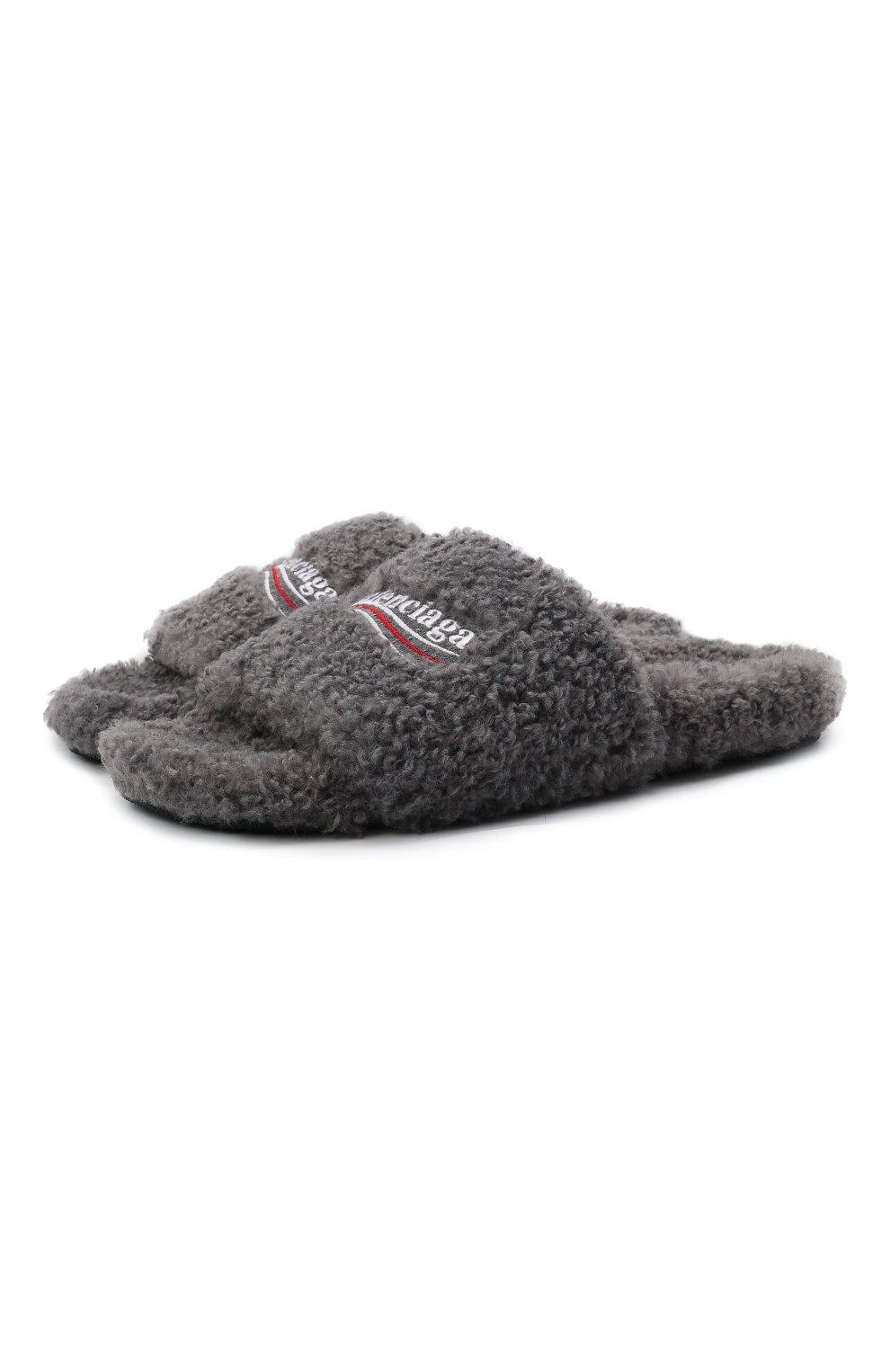 Мужские текстильные шлепанцы furry BALENCIAGA серого цвета, арт. 654747/W2D01 | Фото 1 (Материал внешний: Текстиль; Материал внутренний: Текстиль)