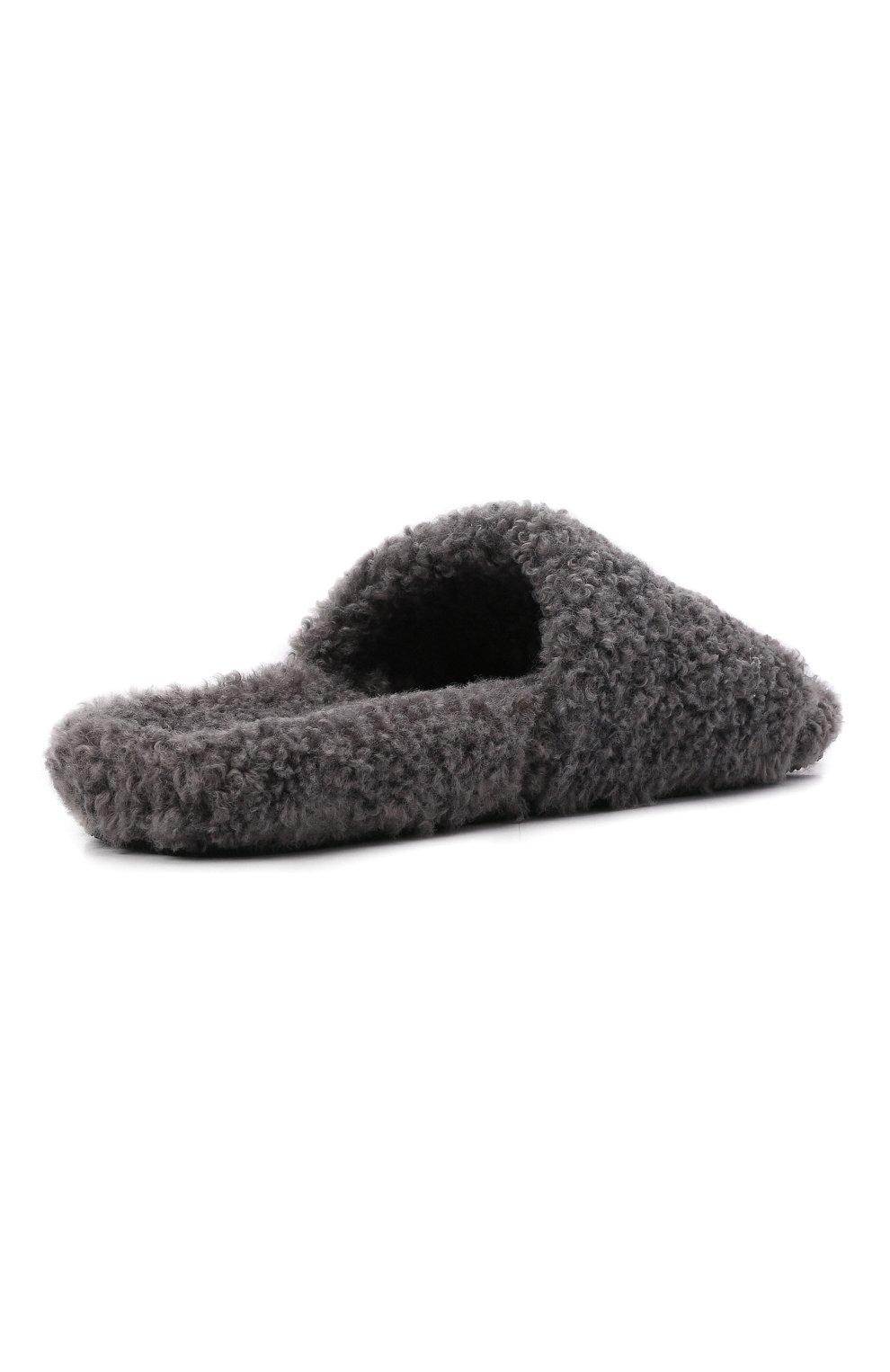 Мужские текстильные шлепанцы furry BALENCIAGA серого цвета, арт. 654747/W2D01 | Фото 4 (Материал внешний: Текстиль; Материал внутренний: Текстиль)