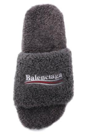 Мужские текстильные шлепанцы furry BALENCIAGA серого цвета, арт. 654747/W2D01 | Фото 5 (Материал внешний: Текстиль; Материал внутренний: Текстиль)