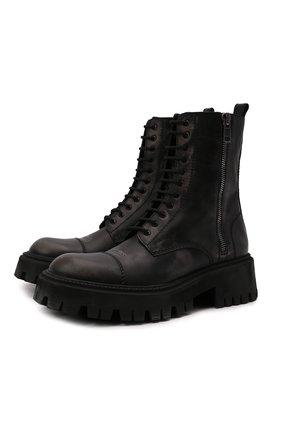 Мужские кожаные ботинки tractor BALENCIAGA черного цвета, арт. 670983/WBCP1 | Фото 1 (Материал внутренний: Натуральная кожа; Каблук высота: Высокий; Подошва: Массивная; Мужское Кросс-КТ: Ботинки-обувь)