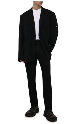 Мужские кожаные ботинки tractor BALENCIAGA черного цвета, арт. 670983/WBCP1 | Фото 2 (Материал внутренний: Натуральная кожа; Каблук высота: Высокий; Подошва: Массивная; Мужское Кросс-КТ: Ботинки-обувь)
