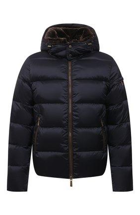Мужская пуховая куртка с меховой отделкой casciano-fur-sh MOORER темно-синего цвета, арт. CASCIAN0-FUR-SH/M0UGI100312-TEPA174 | Фото 1 (Материал подклада: Синтетический материал; Длина (верхняя одежда): Короткие; Рукава: Длинные; Материал внешний: Синтетический материал; Материал утеплителя: Пух и перо; Кросс-КТ: Куртка; Мужское Кросс-КТ: пуховик-короткий; Стили: Кэжуэл)