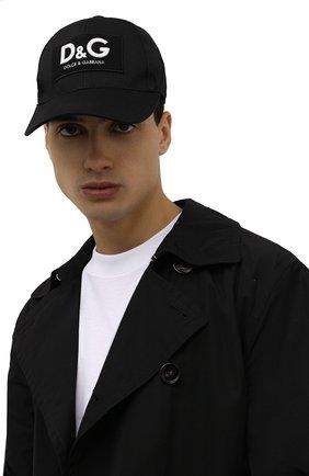 Мужской хлопковая бейсболка DOLCE & GABBANA черного цвета, арт. GH590A/GEV46 | Фото 2 (Материал: Хлопок, Текстиль)