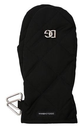 Мужские варежки DOLCE & GABBANA черного цвета, арт. GG808A/FUS0E | Фото 1 (Материал: Текстиль, Синтетический материал; Кросс-КТ: Пуховик)