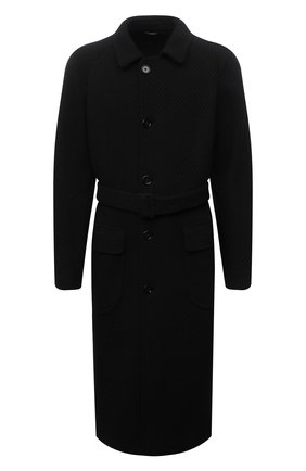 Мужской пальто DOLCE & GABBANA черного цвета, арт. G013JT/FU79Z | Фото 1 (Рукава: Длинные; Материал внешний: Синтетический материал; Материал подклада: Вискоза; Длина (верхняя одежда): Длинные; Мужское Кросс-КТ: пальто-верхняя одежда; Стили: Классический)