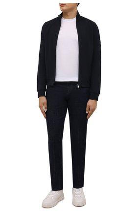 Мужской хлопковый кардиган CORNELIANI темно-синего цвета, арт. 88G567-1825020/00 | Фото 2 (Материал внешний: Хлопок; Длина (для топов): Стандартные; Рукава: Длинные; Мужское Кросс-КТ: Кардиган-одежда; Стили: Спорт-шик)