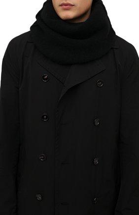 Мужской шерстяной шарф-снуд ISABEL BENENATO черного цвета, арт. UK15F21 | Фото 2 (Материал: Шерсть; Кросс-КТ: шерсть)