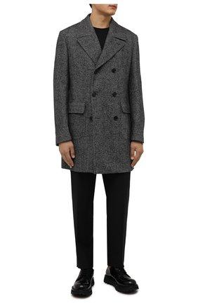 Мужской шерстяное пальто CORNELIANI темно-серого цвета, арт. 881502-1812123/00 | Фото 2 (Материал подклада: Вискоза; Рукава: Длинные; Длина (верхняя одежда): До середины бедра; Материал внешний: Шерсть; Мужское Кросс-КТ: пальто-верхняя одежда; Стили: Классический)