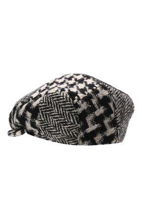 Мужская кепи из шерсти и хлопка DOLCE & GABBANA черно-белого цвета, арт. GH587A/GEV61 | Фото 2 (Материал: Шерсть)