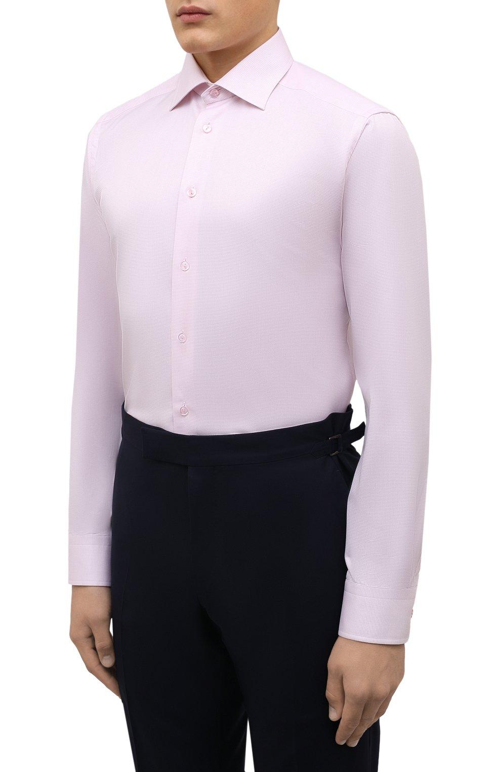 Мужская хлопковая сорочка ETON розового цвета, арт. 1000 01652   Фото 3 (Манжеты: На пуговицах; Рукава: Длинные; Воротник: Акула; Длина (для топов): Стандартные; Рубашки М: Slim Fit; Материал внешний: Хлопок; Стили: Классический; Случай: Формальный; Принт: Однотонные)