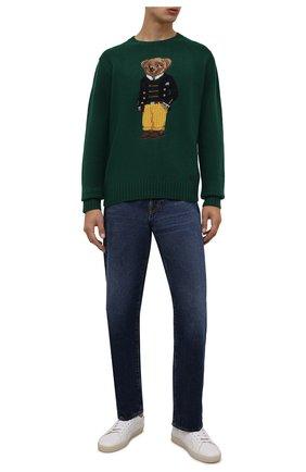 Мужской шерстяной свитер POLO RALPH LAUREN зеленого цвета, арт. 710850566 | Фото 2 (Материал внешний: Шерсть; Длина (для топов): Стандартные; Рукава: Длинные; Мужское Кросс-КТ: Свитер-одежда; Принт: С принтом; Стили: Кэжуэл)