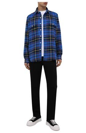 Мужская хлопковая рубашка POLO RALPH LAUREN синего цвета, арт. 710849778/5014   Фото 2 (Материал внешний: Хлопок; Длина (для топов): Стандартные; Рукава: Длинные; Случай: Повседневный; Принт: Клетка; Стили: Кэжуэл; Воротник: Кент; Манжеты: На пуговицах)