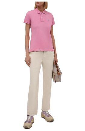 Женское хлопковое поло POLO RALPH LAUREN розового цвета, арт. 211843252 | Фото 2 (Рукава: Короткие; Материал внешний: Хлопок; Длина (для топов): Стандартные; Стили: Спорт-шик)