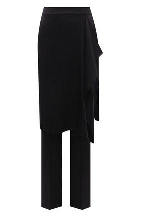 Женские шелковые брюки-юбка GIORGIO ARMANI черного цвета, арт. 1WHPP0JQ/T02AT | Фото 1 (Материал внешний: Шелк; Длина (брюки, джинсы): Удлиненные; Женское Кросс-КТ: Брюки-одежда; Стили: Гранж; Силуэт Ж (брюки и джинсы): Прямые)