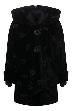Женская утепленная куртка GIORGIO ARMANI черного цвета, арт. 1WH0C064/T02WU | Фото 1 (Длина (верхняя одежда): До середины бедра; Рукава: 3/4; Материал внешний: Вискоза; Материал подклада: Синтетический материал; Кросс-КТ: Куртка; Стили: Романтичный)