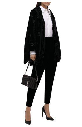 Женская утепленная куртка GIORGIO ARMANI черного цвета, арт. 1WH0C064/T02WU | Фото 2 (Длина (верхняя одежда): До середины бедра; Рукава: 3/4; Материал внешний: Вискоза; Материал подклада: Синтетический материал; Кросс-КТ: Куртка; Стили: Романтичный)