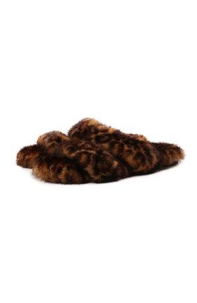 Женские шлепанцы bleach из меха норки SAINT LAURENT леопардового цвета, арт. 649419/EAAAA | Фото 1 (Материал утеплителя: Натуральный мех; Подошва: Плоская; Каблук высота: Низкий)