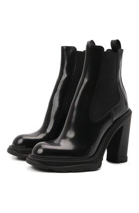 Женские кожаные ботильоны ALEXANDER MCQUEEN черного цвета, арт. 678530/WHZ84 | Фото 1 (Материал внутренний: Натуральная кожа; Каблук высота: Высокий; Подошва: Платформа; Каблук тип: Устойчивый)