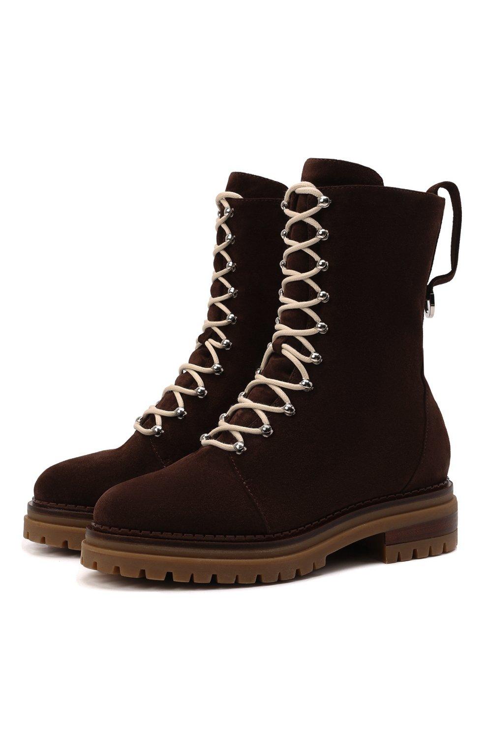 Женские замшевые ботинки sr joan SERGIO ROSSI темно-коричневого цвета, арт. A92040-MCRM13 | Фото 1 (Подошва: Платформа; Материал утеплителя: Натуральный мех; Каблук высота: Низкий; Материал внешний: Замша; Женское Кросс-КТ: Зимние ботинки)