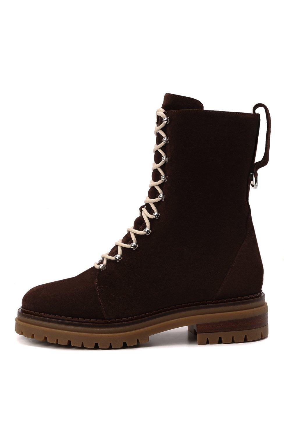 Женские замшевые ботинки sr joan SERGIO ROSSI темно-коричневого цвета, арт. A92040-MCRM13 | Фото 3 (Подошва: Платформа; Материал утеплителя: Натуральный мех; Каблук высота: Низкий; Материал внешний: Замша; Женское Кросс-КТ: Зимние ботинки)