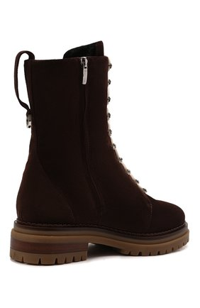 Женские замшевые ботинки sr joan SERGIO ROSSI темно-коричневого цвета, арт. A92040-MCRM13 | Фото 4 (Подошва: Платформа; Материал утеплителя: Натуральный мех; Каблук высота: Низкий; Материал внешний: Замша; Женское Кросс-КТ: Зимние ботинки)