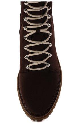 Женские замшевые ботинки sr joan SERGIO ROSSI темно-коричневого цвета, арт. A92040-MCRM13 | Фото 5 (Подошва: Платформа; Материал утеплителя: Натуральный мех; Каблук высота: Низкий; Материал внешний: Замша; Женское Кросс-КТ: Зимние ботинки)