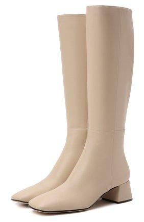 Женские кожаные сапоги SERGIO ROSSI кремвого цвета, арт. A97020-MNAN07   Фото 1 (Материал внутренний: Натуральная кожа; Каблук высота: Низкий; Высота голенища: Средние; Подошва: Плоская; Каблук тип: Устойчивый)