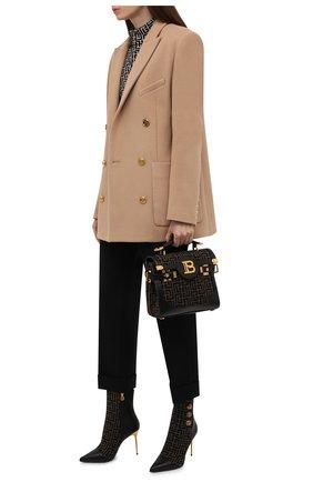 Женские комбинированные ботильоны BALMAIN хаки цвета, арт. WN0TA522/TJMP | Фото 2 (Материал внутренний: Натуральная кожа; Материал внешний: Текстиль; Каблук высота: Высокий; Подошва: Плоская; Каблук тип: Шпилька)