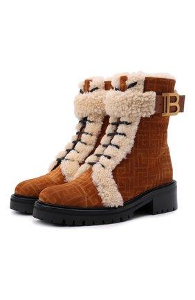 Женские замшевые ботинки balmain x rossignol BALMAIN коричневого цвета, арт. WN4TC502/LSHM | Фото 1 (Материал утеплителя: Натуральный мех; Каблук высота: Низкий; Подошва: Платформа; Женское Кросс-КТ: Зимние ботинки)
