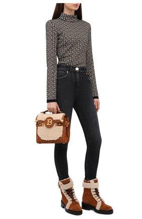 Женские замшевые ботинки balmain x rossignol BALMAIN коричневого цвета, арт. WN4TC502/LSHM | Фото 2 (Материал утеплителя: Натуральный мех; Каблук высота: Низкий; Подошва: Платформа; Женское Кросс-КТ: Зимние ботинки)