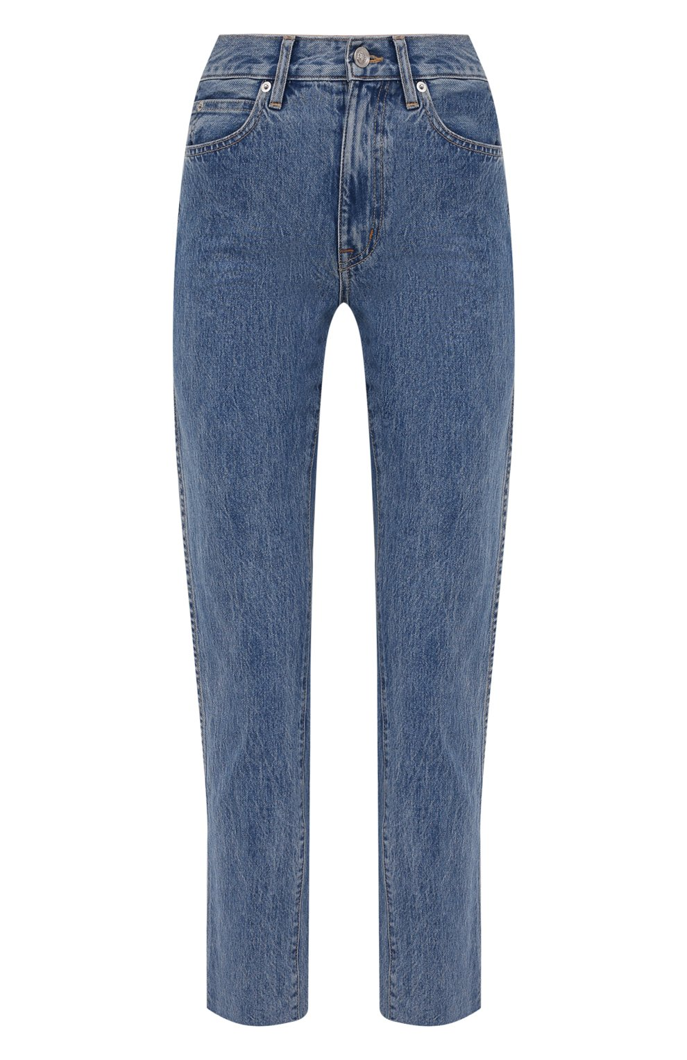 Женские джинсы SLVRLAKE голубого цвета, арт. PF21/HR0J707S/PACI   Фото 1 (Кросс-КТ: Деним; Длина (брюки, джинсы): Стандартные; Силуэт Ж (брюки и джинсы): Прямые; Стили: Гранж; Материал внешний: Хлопок; Детали: Потертости)