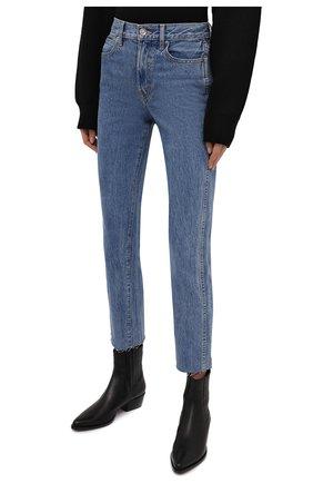 Женские джинсы SLVRLAKE голубого цвета, арт. PF21/HR0J707S/PACI   Фото 3 (Кросс-КТ: Деним; Длина (брюки, джинсы): Стандартные; Силуэт Ж (брюки и джинсы): Прямые; Стили: Гранж; Материал внешний: Хлопок; Детали: Потертости)