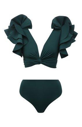 Женский раздельный купальник MAYGEL CORONEL зеленого цвета, арт. BK-032 | Фото 1 (Длина Ж (юбки, платья, шорты): Мини; Материал внешний: Синтетический материал; Женское Кросс-КТ: Раздельные купальники)