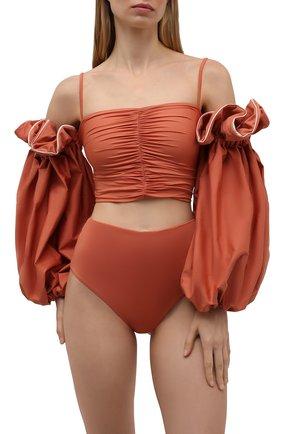 Женский раздельный купальник MAYGEL CORONEL оранжевого цвета, арт. BK-078 | Фото 2 (Материал внешний: Синтетический материал; Длина Ж (юбки, платья, шорты): Мини; Женское Кросс-КТ: Раздельные купальники)