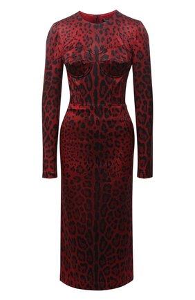 Женское платье DOLCE & GABBANA красного цвета, арт. F6W3TT/FSSGW | Фото 1 (Материал подклада: Шелк; Длина Ж (юбки, платья, шорты): Миди; Рукава: Длинные; Материал внешний: Синтетический материал; Женское Кросс-КТ: Платье-одежда; Стили: Романтичный; Случай: Коктейльный)
