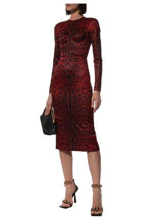 Женское платье DOLCE & GABBANA красного цвета, арт. F6W3TT/FSSGW | Фото 2 (Материал подклада: Шелк; Длина Ж (юбки, платья, шорты): Миди; Рукава: Длинные; Материал внешний: Синтетический материал; Женское Кросс-КТ: Платье-одежда; Стили: Романтичный; Случай: Коктейльный)