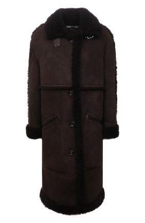 Женская дубленка из овчины TOM FORD темно-коричневого цвета, арт. CPF702-FUX146 | Фото 1 (Длина (верхняя одежда): До колена; Рукава: Длинные; Материал внешний: Натуральный мех; Стили: Кэжуэл)