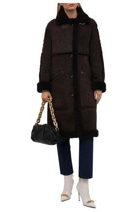 Женская дубленка из овчины TOM FORD темно-коричневого цвета, арт. CPF702-FUX146 | Фото 2 (Длина (верхняя одежда): До колена; Рукава: Длинные; Материал внешний: Натуральный мех; Стили: Кэжуэл)