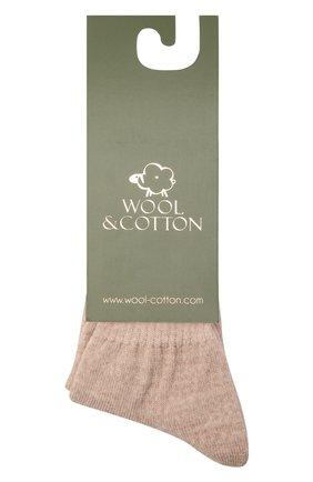 Детские шерстяные носки WOOL&COTTON бежевого цвета, арт. NLML | Фото 1 (Материал: Шерсть)