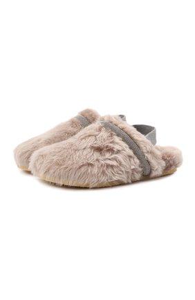 Детские домашние туфли BRUNELLO CUCINELLI бежевого цвета, арт. BZMRAZG044   Фото 1 (Материал внутренний: Натуральная кожа; Материал внешний: Натуральный мех; Материал утеплителя: Натуральный мех; Кросс-КТ: тапочки)