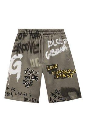 Детские хлопковые шорты DOLCE & GABBANA хаки цвета, арт. L4JQJ3/G7BJ5/8-14   Фото 1 (Материал внешний: Хлопок; Мальчики Кросс-КТ: Шорты-одежда)