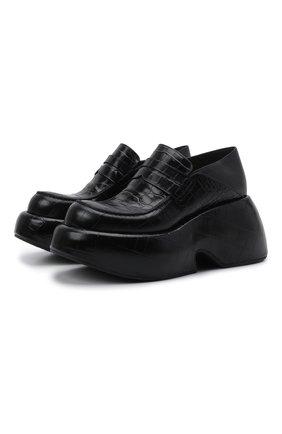 Женские кожаные лоферы LOEWE черного цвета, арт. L814290X31   Фото 1 (Материал внутренний: Натуральная кожа; Подошва: Платформа)