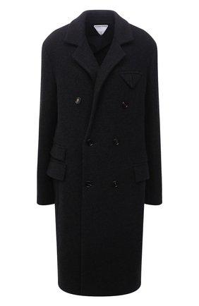 Женское кашемировое пальто BOTTEGA VENETA серого цвета, арт. 666183/VKLF0 | Фото 1 (Длина (верхняя одежда): До колена; Материал внешний: Шерсть, Кашемир; Рукава: Длинные; Материал подклада: Хлопок; 1-2-бортные: Двубортные; Стили: Кэжуэл)