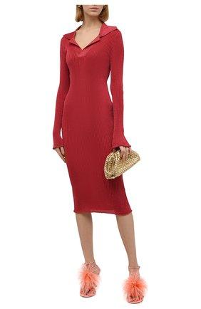 Женское платье BOTTEGA VENETA красного цвета, арт. 672040/V0Z30   Фото 2 (Длина Ж (юбки, платья, шорты): Миди; Материал внешний: Синтетический материал, Металлизированное волокно; Рукава: Длинные; Женское Кросс-КТ: Платье-одежда; Случай: Повседневный; Стили: Романтичный)