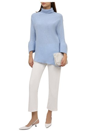 Женский кашемировый свитер GIORGIO ARMANI голубого цвета, арт. 6KAM09/AM26Z | Фото 2 (Рукава: Длинные; Длина (для топов): Удлиненные; Материал внешний: Кашемир, Шерсть; Женское Кросс-КТ: Свитер-одежда; Стили: Кэжуэл)