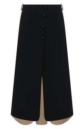 Женская шелковая юбка GIORGIO ARMANI черного цвета, арт. 1WHNN059/T02TI   Фото 1 (Материал внешний: Шелк; Длина Ж (юбки, платья, шорты): Макси; Женское Кросс-КТ: Юбка-одежда; Стили: Кэжуэл)