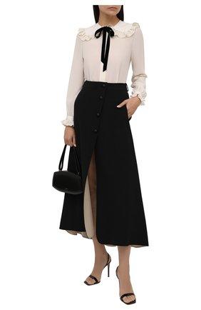 Женская шелковая юбка GIORGIO ARMANI черного цвета, арт. 1WHNN059/T02TI   Фото 2 (Материал внешний: Шелк; Длина Ж (юбки, платья, шорты): Макси; Женское Кросс-КТ: Юбка-одежда; Стили: Кэжуэл)