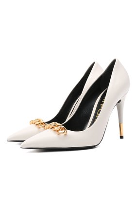 Женские кожаные туфли TOM FORD белого цвета, арт. W2992T-LSP002 | Фото 1 (Материал внутренний: Натуральная кожа; Каблук тип: Шпилька; Каблук высота: Высокий; Подошва: Плоская)
