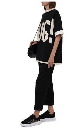 Женские замшевые кеды ALEXANDER MCQUEEN черного цвета, арт. 667241/WHZ3B | Фото 2 (Материал внутренний: Натуральная кожа; Подошва: Платформа; Материал внешний: Замша)