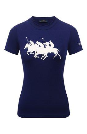 Женская хлопковая футболка POLO RALPH LAUREN синего цвета, арт. 211839186 | Фото 1 (Рукава: Короткие; Материал внешний: Хлопок; Длина (для топов): Стандартные; Принт: С принтом; Стили: Спорт-шик)